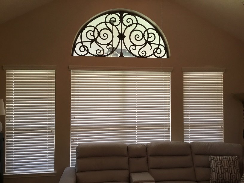Faux Iron Paired With Wood Blinds