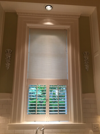 Cafe Style Shutters And Honeycomb Shade