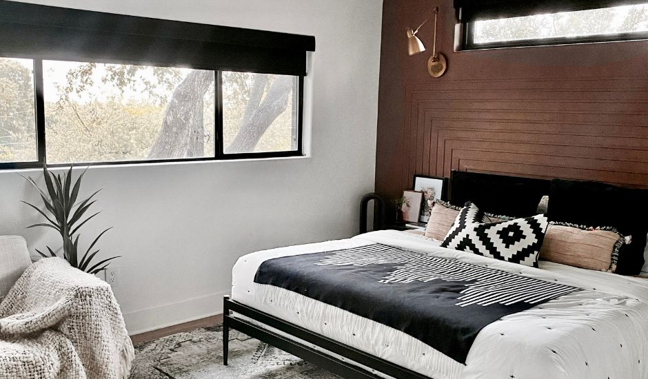 motorized shades in bedroom
