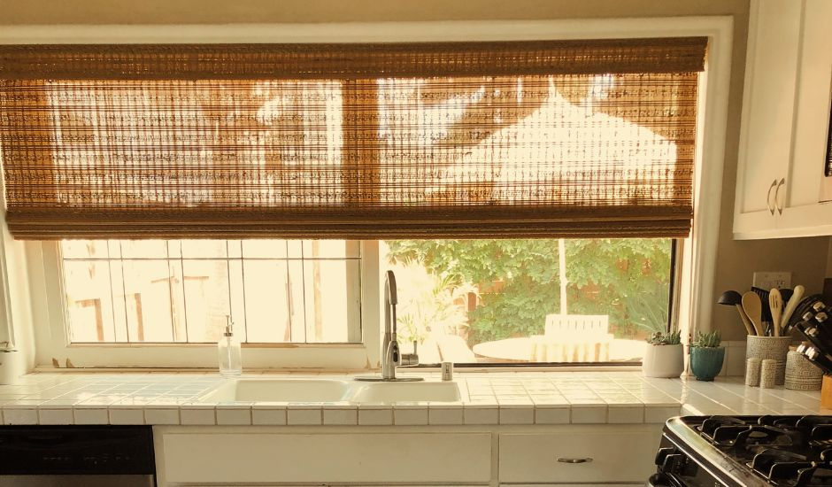 woven shade in kitchen