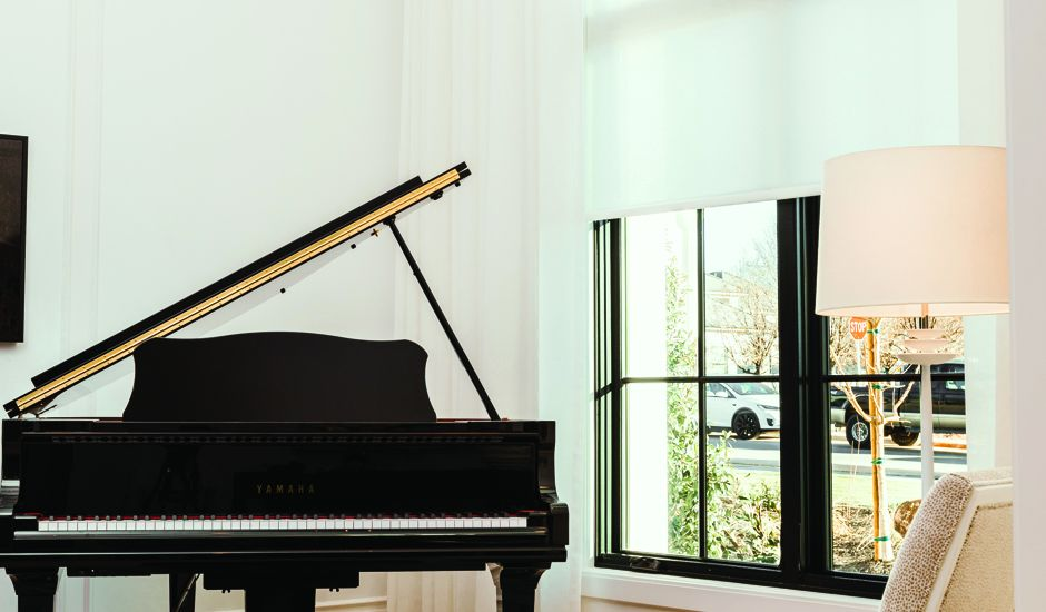 automated shades in piano room