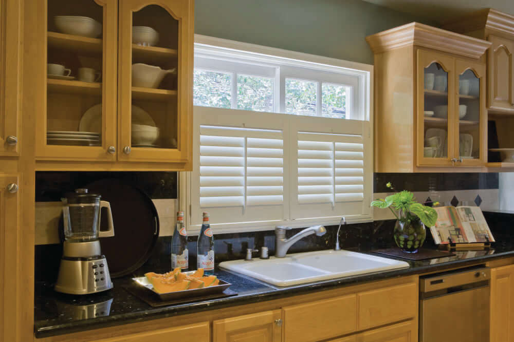 White Cafe Shutters in Kitchen
