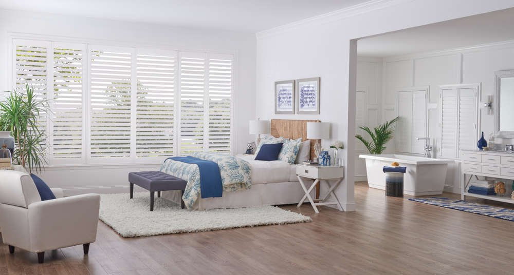 White Wood shutters in Bedroom