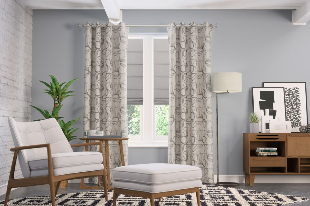 Roman Shade and Drapery Panels in Living Room