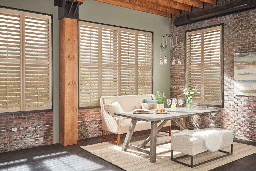 Wood Shutters in Dining Room
