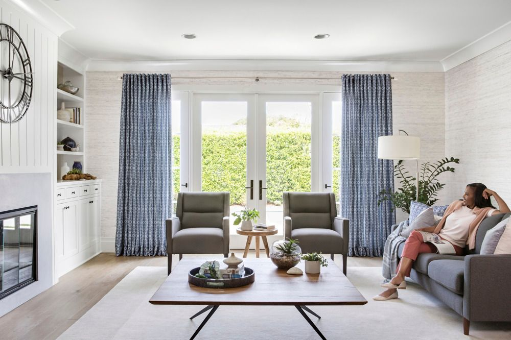 Navy Drapes in Living Room