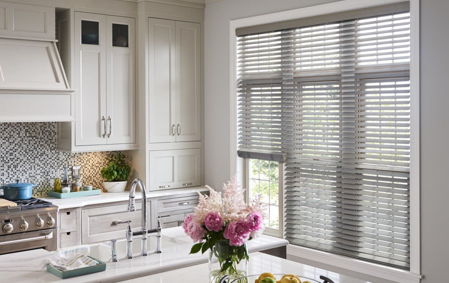 A Unique Approach To Classic Wood Blinds In Contemporary Kitchen