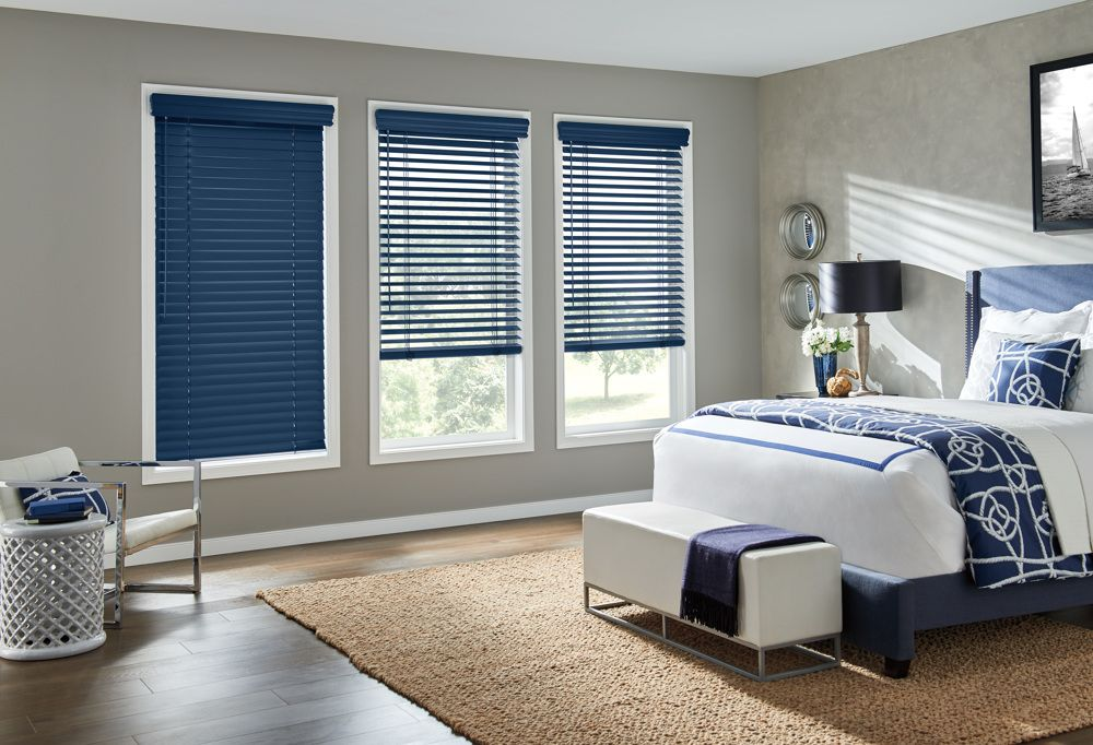 Blue Wood Blinds in Bedroom