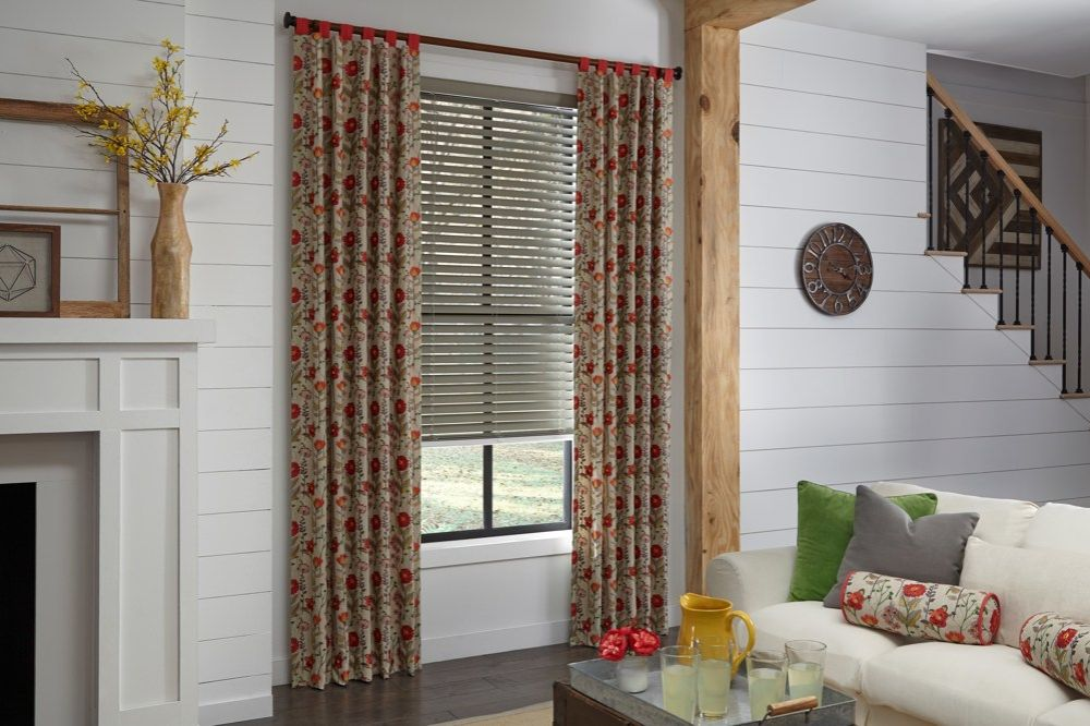 Faux Wood Blinds and Drapery Panels in Living Room