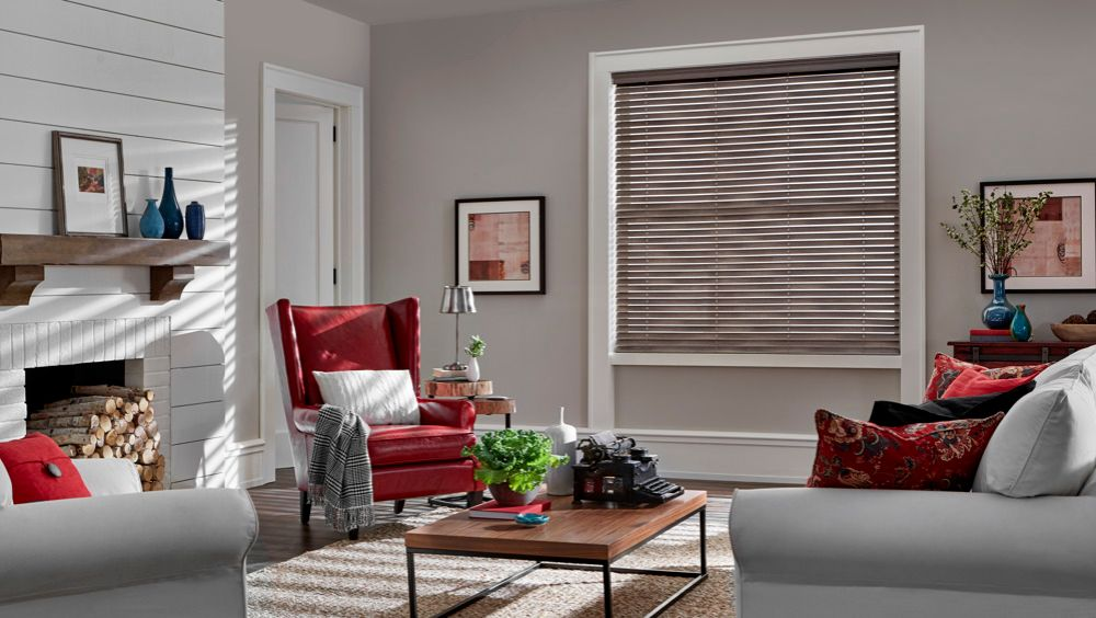 Faux Wood Blinds in Living Room