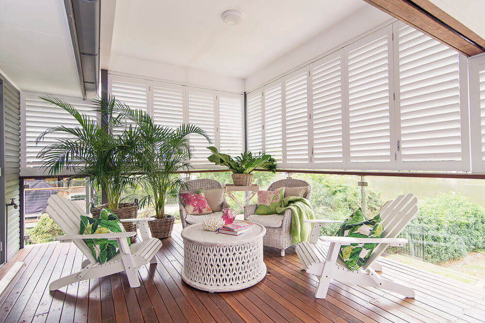 White Exterior Shutters on Patio
