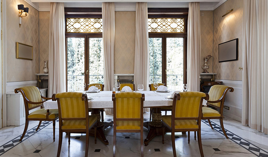 G Budget Blinds Faux Iron Dining Room