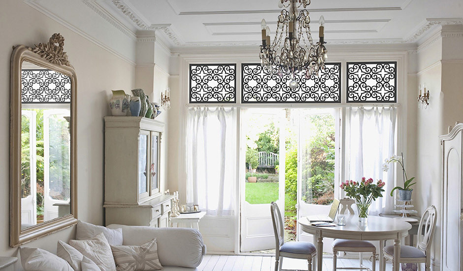 G Budget Blinds Faux Iron Sitting Room