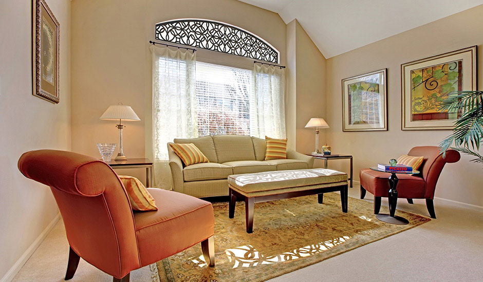 G Budget Blinds Faux Iron Tableaux Arched Window Transom