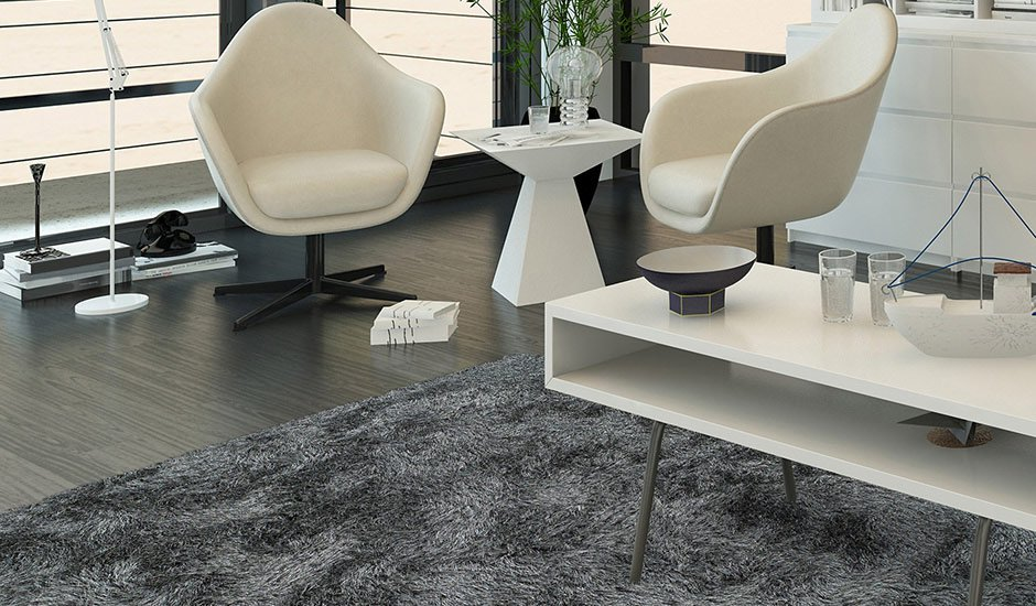 Impact Shag Pewter Polyester Room Rug