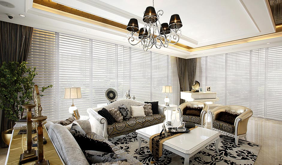 Budget Blinds White Blinds Living Room