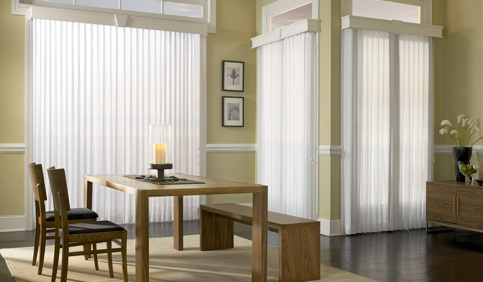 Vertical Sheer Signature Series Budget Blinds Three Windows