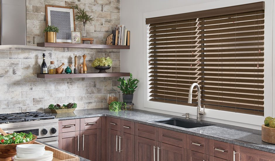 Brown Faux Wood Blinds Kitchen