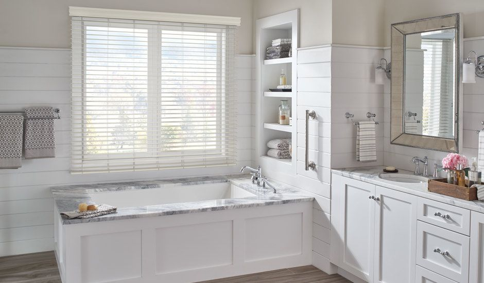 faux wood blinds in bathroom