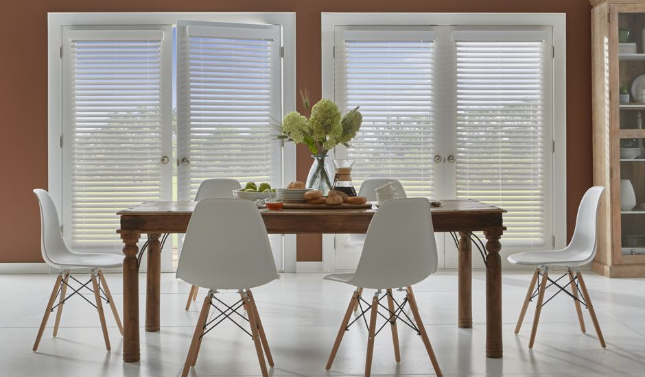 faux wood blinds in dining room