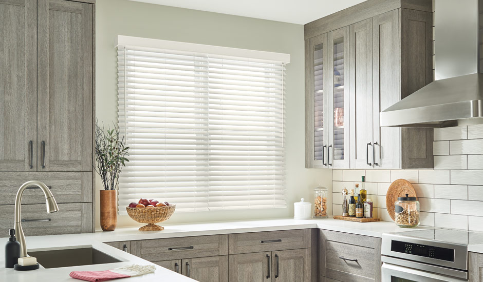 Kitchen Faux Wood White Blinds