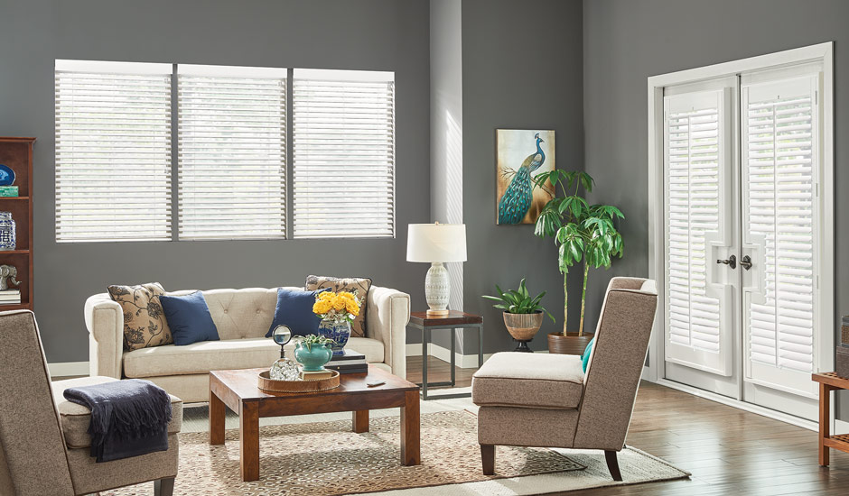 White Living Room Faux Wood Blinds