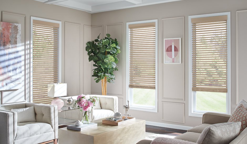 Tan Living Room Faux Wood Blinds