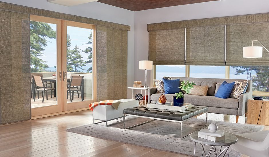 Budget Blinds Tan Shades Living Room