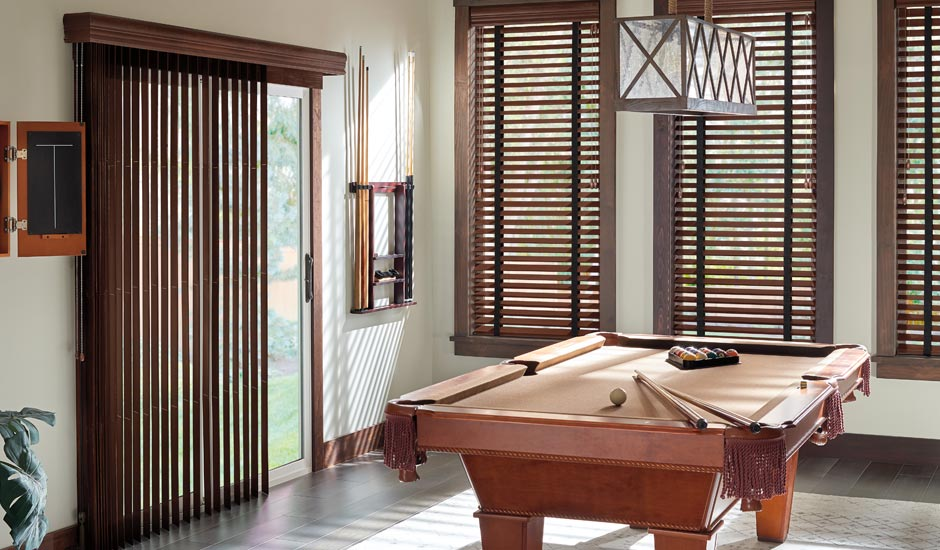 Dark Wood Vertical Blinds Game Room