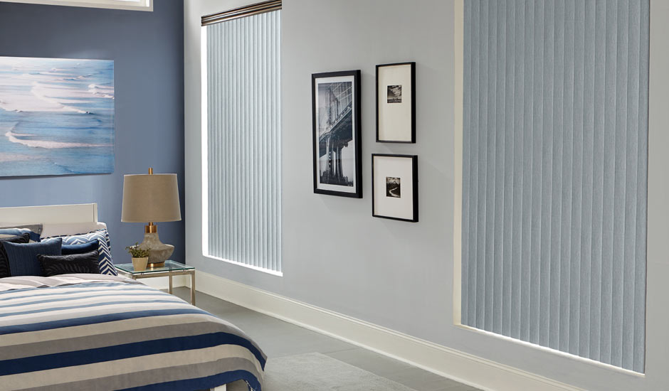 Light Blue Vertical Blinds Bedroom