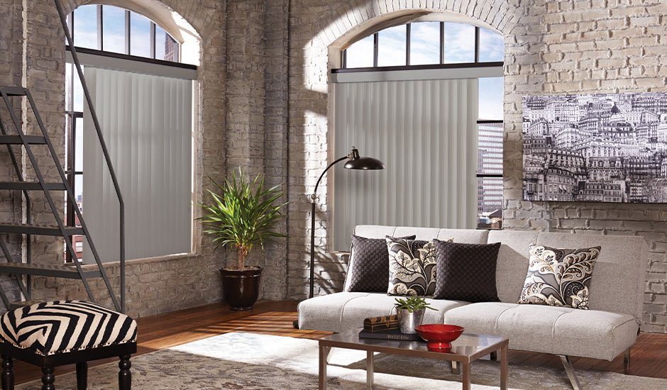 Light Gray Vertical Blinds Studio Office