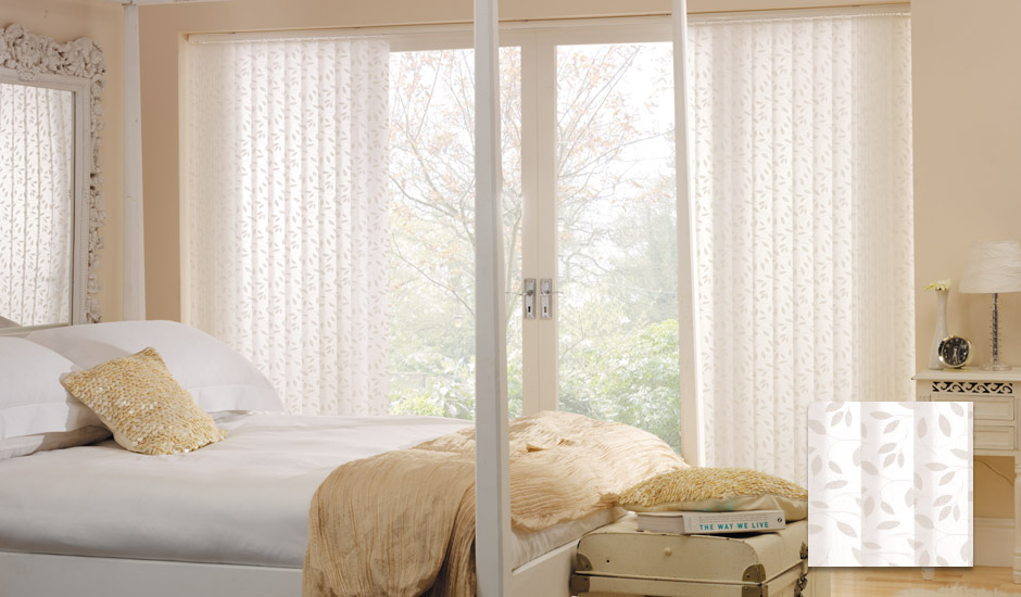 Patterned Vertical Blinds Bedroom