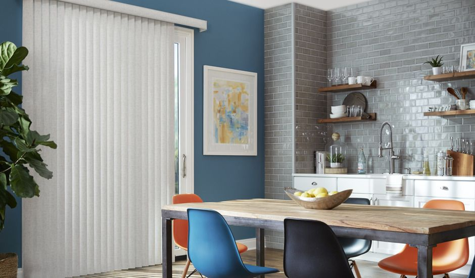 vertical blinds in kitchen