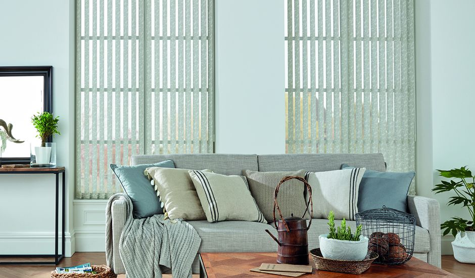 vertical blinds in living room
