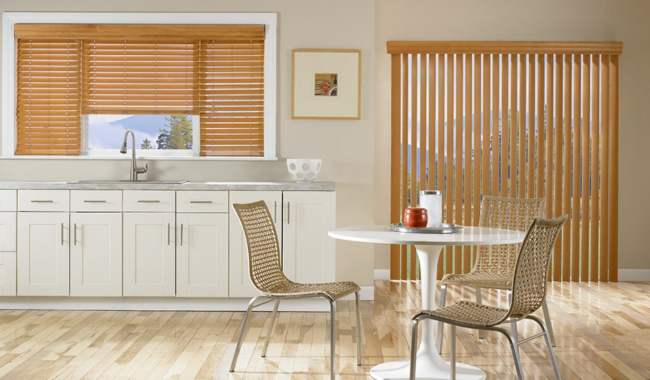 Vertical Tan Wood Blinds Kitchen