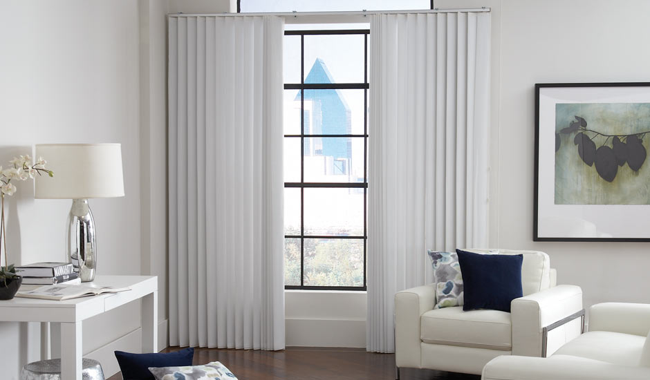 Vertical White Window Blinds Living Room
