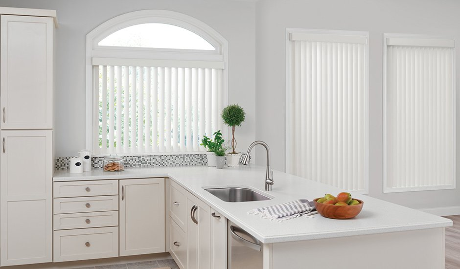 White Vertical Blinds Kitchen Budget Blinds