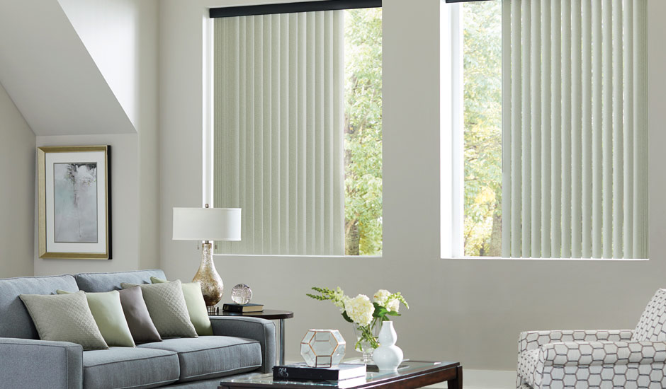 White Vertical Blinds Living Room Budget Blinds