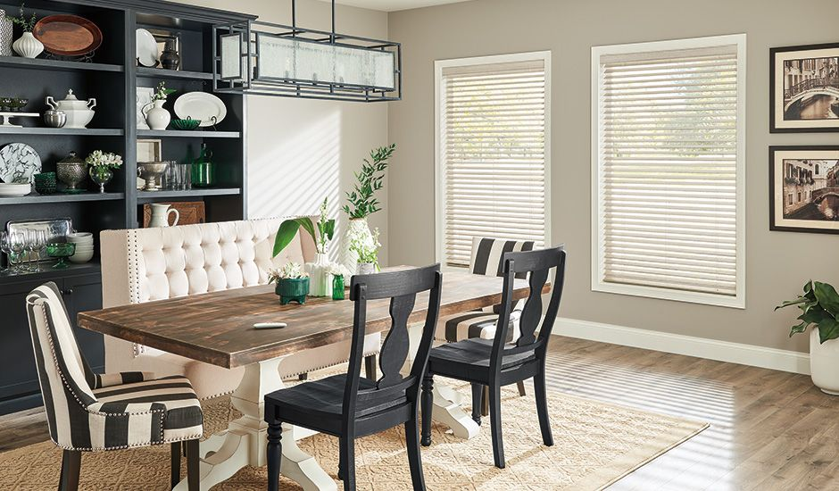 Budget Blinds Light Tan Wood Blinds Dining Room