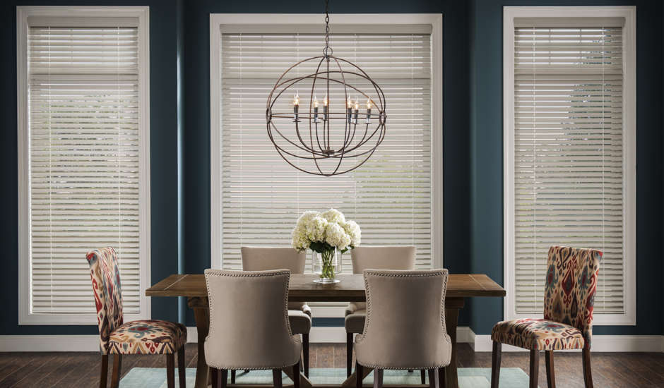 Beige Wood Blinds in Dining Room