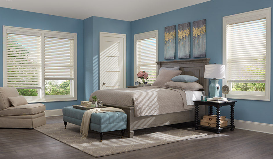 White Wood Blinds in Bedroom