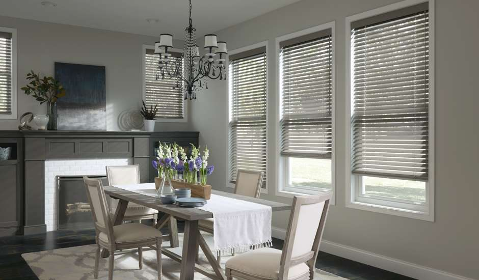 Wood Blinds in Dining Room