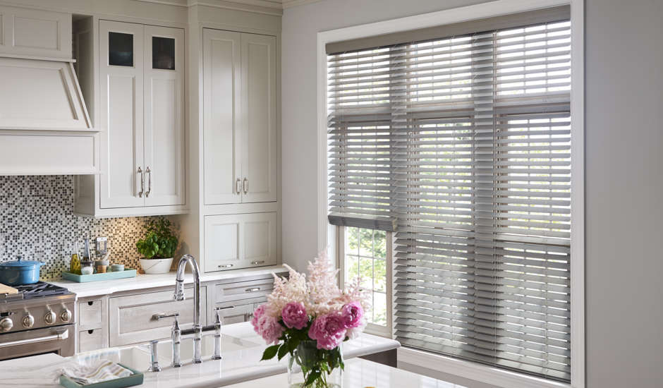 Gray Wood Blinds in Kitchen