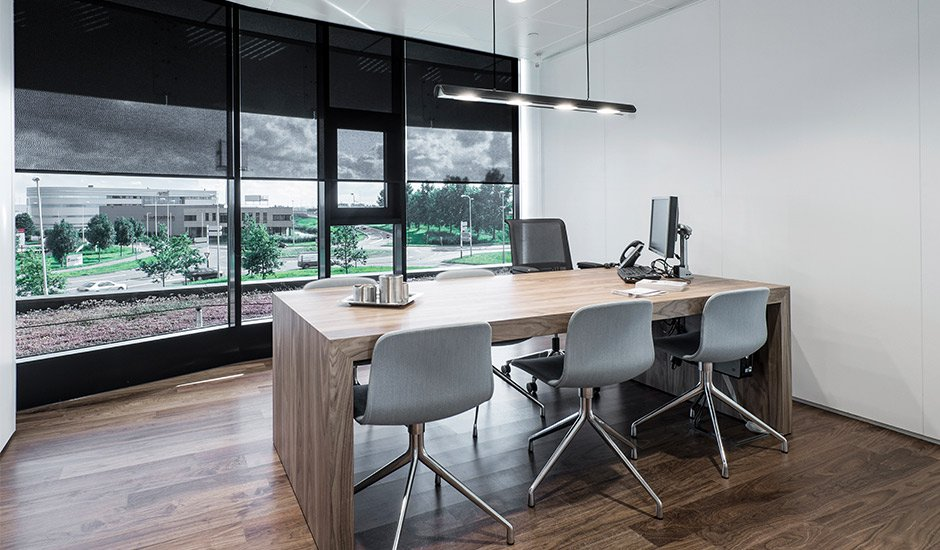black-sheer-roller-shades-office-modern