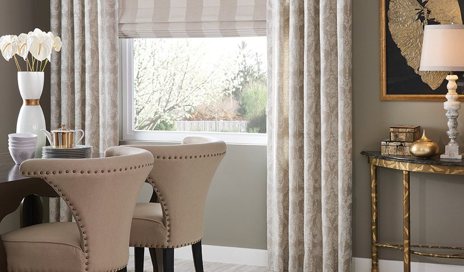 Budget Blinds Drapery Panels Dining Room Window