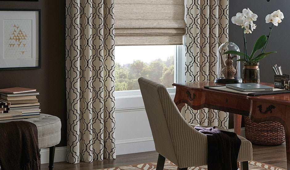 Budget Blinds Drapery Panels Office Study