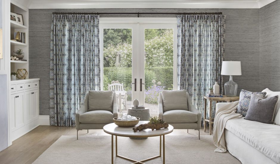 gray drapes in living room