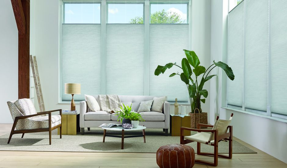honeycomb shades in living room