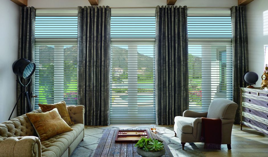 window shadings and drapery in living room