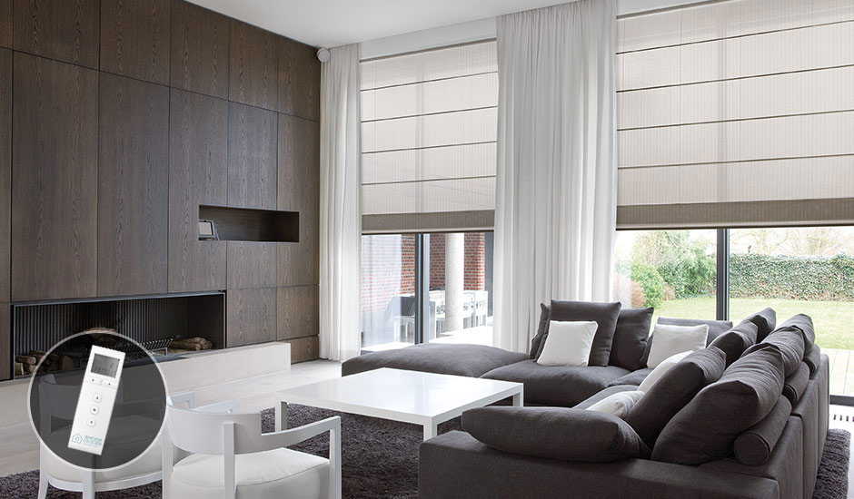 living-room-motorized-shades-remote
